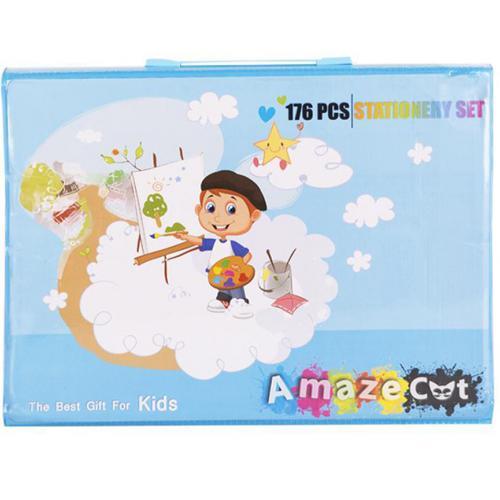 Набор для детского творчества из 176 предметов голубой оптом