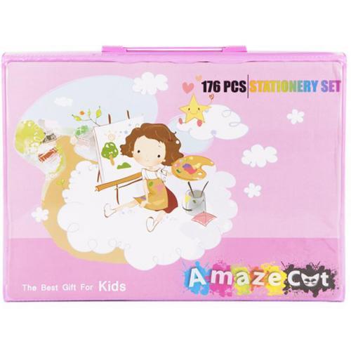 Набор для детского творчества из 176 предметов розовый оптом