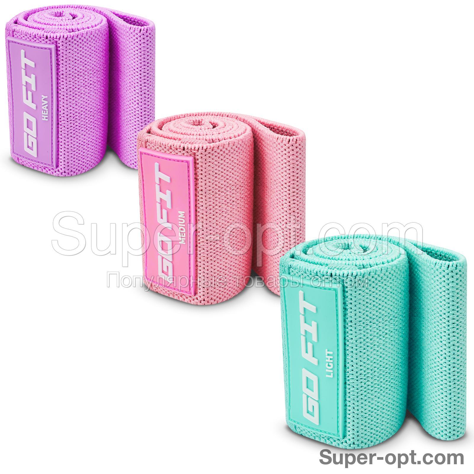 Тканевые фитнес-резинки GO FIT, набор из 3 штук с мешочком для хранения и программой тренировок оптом