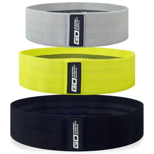 Тканевые фитнес-резинки GO ENERGY, набор из 3 штук с мешочком для хранения и программой тренировок оптом