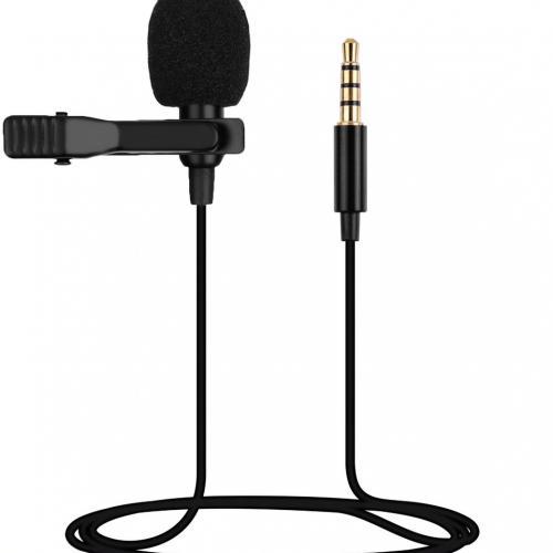 Петличный микрофон Clip-on, разъем Jack 3.5 мм, всенаправленный с ветрозащитой и креплением на одежду оптом