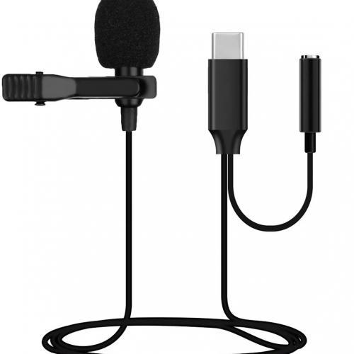 Петличный микрофон Clip-on, разъем Type-C, всенаправленный с ветрозащитой и креплением на одежду оптом
