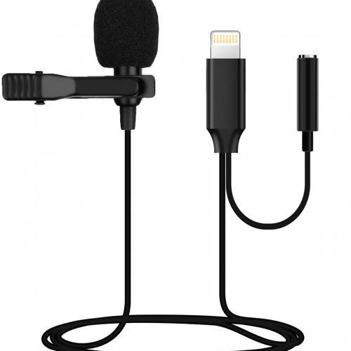 Петличный микрофон Clip-on, разъем Lightning, всенаправленный с ветрозащитой и креплением на одежду оптом