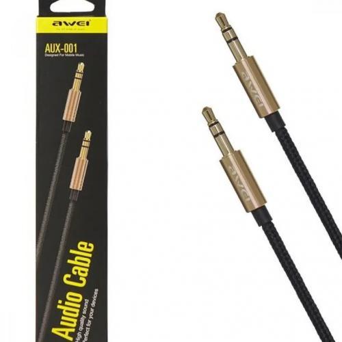 Кабель соединительный audio Jack 3.5 mm - Jack 3.5 mm [вилка - вилка, 1 м]  Awei AUX-001 оптом
