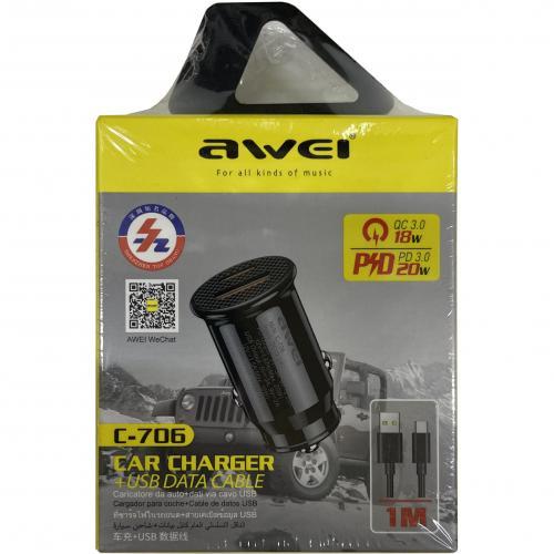 Автомобильное двухпортовое зарядное устройство с функцией быстрой зарядки Awei C-706 оптом