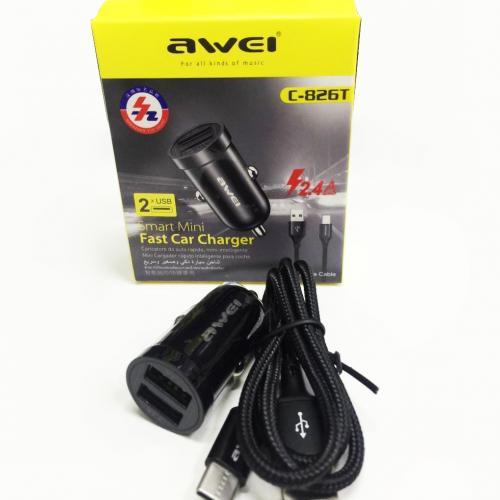 Автомобильное мини-зарядное устройство с двойным выходом Awei C-826T оптом