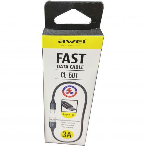 Кабель USB Type-A  -  USB Type-C 0.6 метра c поддержкой быстрой зарядки Awei CL-50T оптом