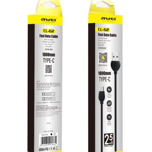 Кабель USB Type-A  -  USB Type-C 1 метр c поддержкой быстрой зарядки Awei CL-62 оптом