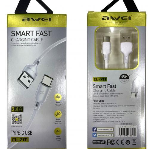 Кабель USB Type-A  -  USB Type-C 1 метр c поддержкой быстрой зарядки Awei CL-71T оптом