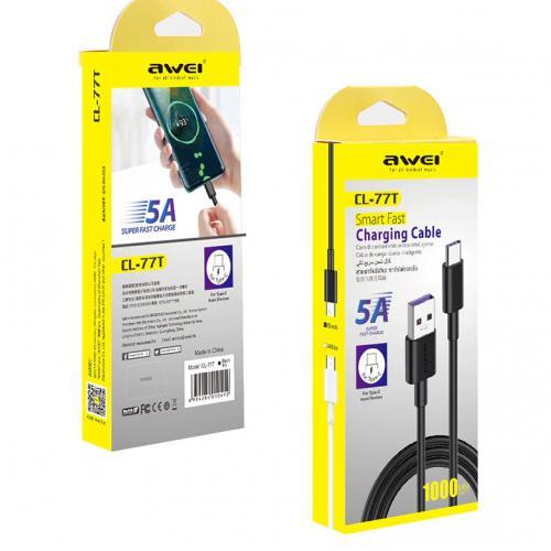 Кабель USB Type-A  -  USB Type-C 1 метр для сверх быстрой зарядки Awei CL-77T оптом