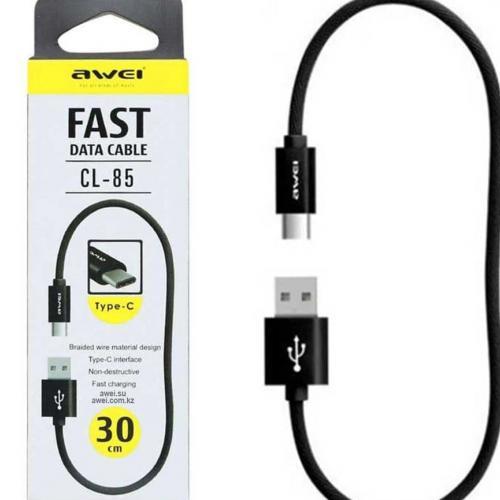 Кабель USB Type-A  -  USB Type-C 0.3 метра c поддержкой быстрой зарядки Awei CL-85 оптом
