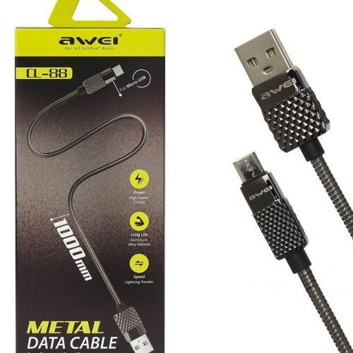Кабель USB Type-A  -  micro USB металлический, 1 метр, c поддержкой быстрой зарядки Awei CL-88 оптом