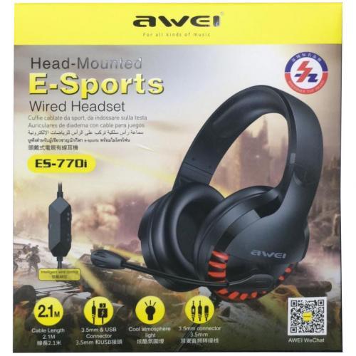 Игровые наушники объёмного звучания AWEI ES-770i c микрофоном оптом
