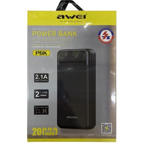 Power Bank Awei P6K 20000 mAh с двумя портами оптом