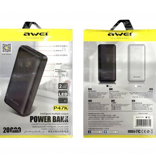 Power Bank Awei P47K 20000 mAh с двумя портами оптом
