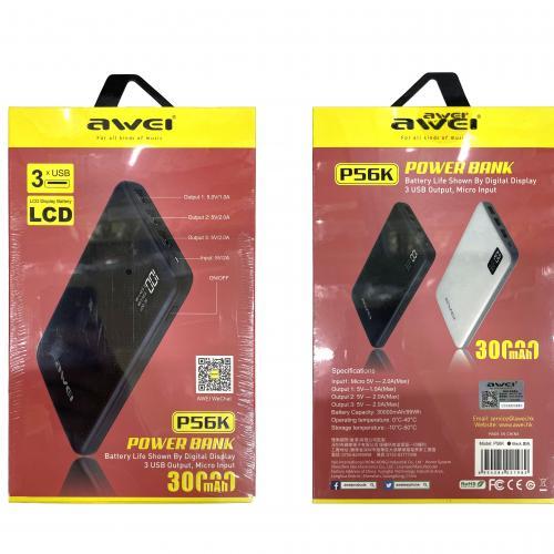 Power Bank Awei P56K 30000 mAh с тремя портами оптом