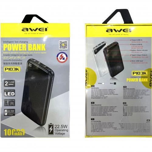 Power Bank Awei P103K 10000 mAh с тремя портами и быстрой зарядкой оптом