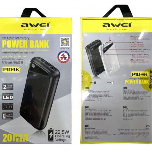 Power Bank Awei P104K 20000 mAh с тремя портами и быстрой зарядкой оптом