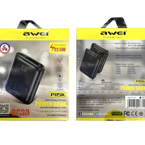 Миниатюрный Power Bank Awei P115K 9000 mAh с двумя портами и быстрой зарядкой оптом