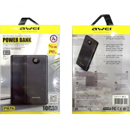 Power Bank Awei P117K 10000 mAh с двумя портами и быстрой зарядкой оптом