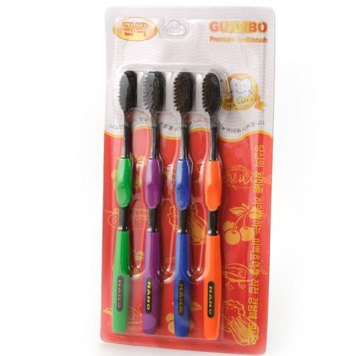Набор бамбуковых зубных щеток Guanbo Nano 4 штуки оптом