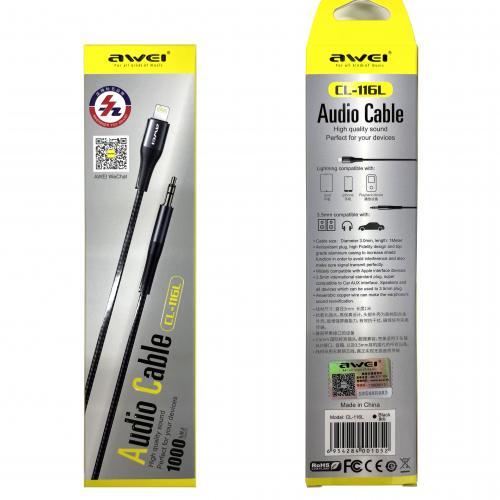 Аудио кабель Apple Lighting - mini Jack Ø3.5мм Awei CL-116L оптом