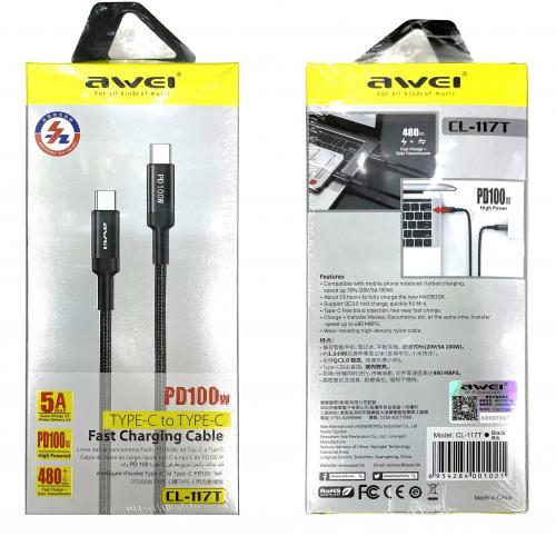 Кабель USB Type-C - USB Type-C 1 метр для сверх быстрой зарядки и передачи данных Awei CL-117T оптом