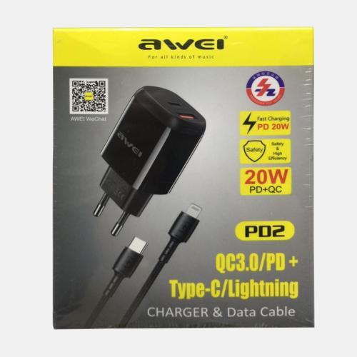 Зарядное устройство c быстрой зарядкой для телефонов AWEI PD2 оптом