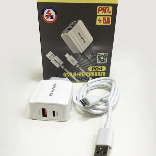 Зарядное устройство c быстрой зарядкой для телефонов AWEI PD4 оптом