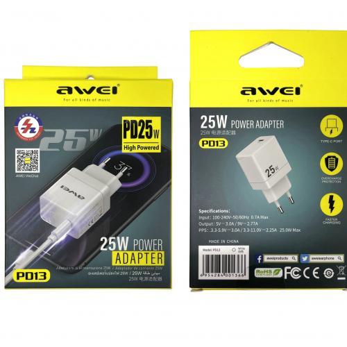 Зарядное устройство c быстрой зарядкой для телефонов AWEI PD13 оптом