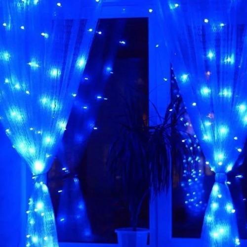 Светодиодная гирлянда - интерьерная штора1.5 х 1.5 метра синяяоптом