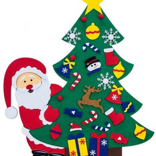 Войлочные елочные украшения Санта Клаус оптом
