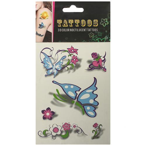 Временные татуировки Tattoos 3D Color Цветы и бабочки оптом