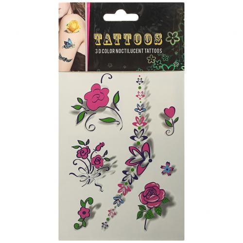 Временные татуировки Tattoos 3D Color Розовые цветы оптом