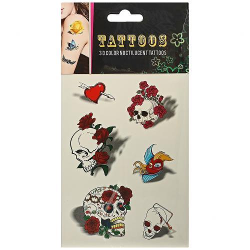 Временные татуировки Tattoos 3D Color Черепа и цветы оптом