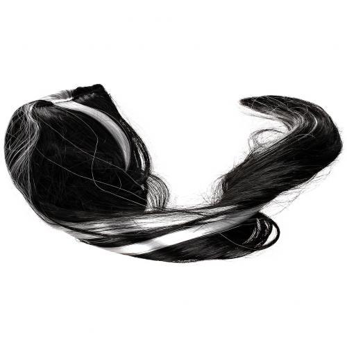 Парик черный с белыми прядями из длинных волос оптом