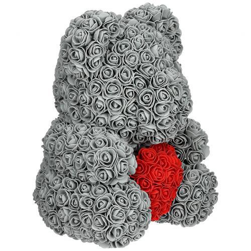 Мишка из роз с сердцем 40 см оптом
