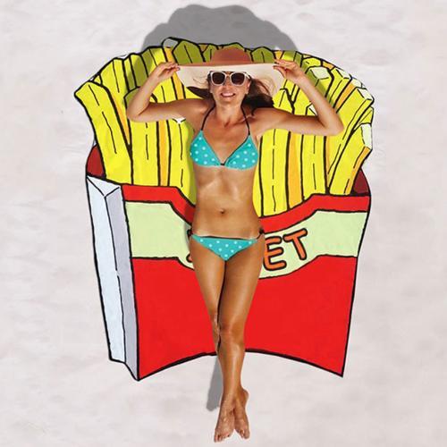 Пляжное полотенце Картошка фри полиэстер оптом