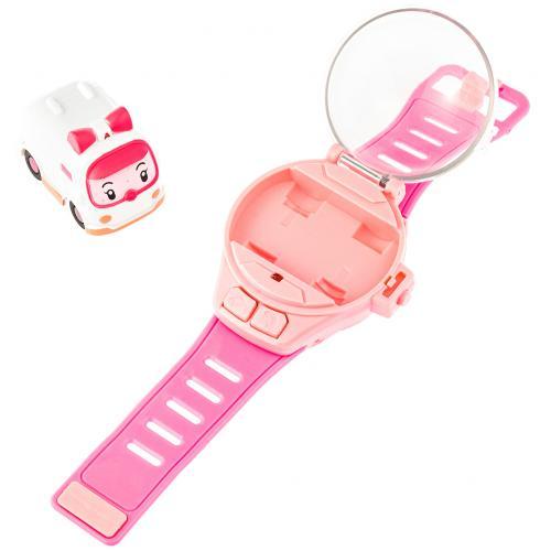 Детские часы с мини-машинкой на радиоуправлении Poli розовые оптом