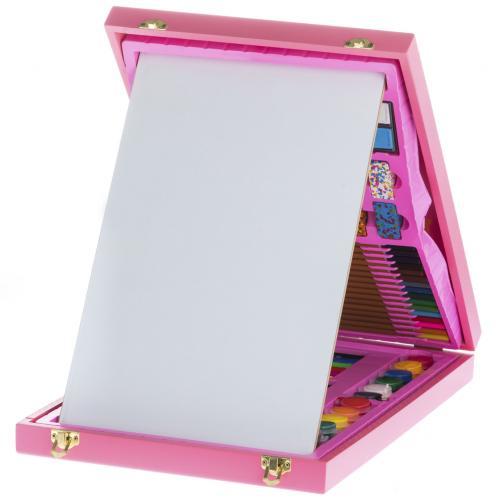 Набор для детского творчества из 98 предметов розовый оптом