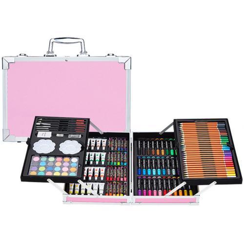 Набор для детского творчества из 145 предметов в кейсе розовый оптом